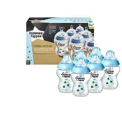 Tommee Tippee Closer to Nature Easivent 260ml Bottles Decorated Blue Pack of 6