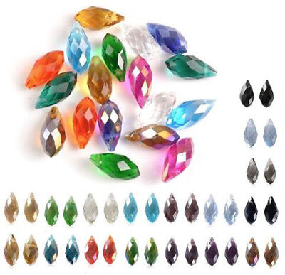 50pcs Colorful Teardrop Crystal Bead Jewelry Making DIY Faceted Glass Beads 12mm