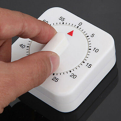 Novelty White Square 60-Minute Mechanical Timer Reminder Counting for Kitchen
