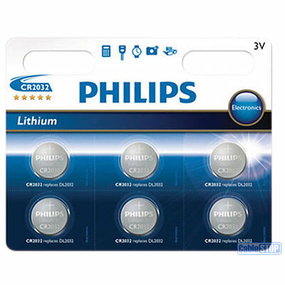 6 x Philips CR2032 3V Lithium Button Battery Coin Cell DL2032 - EXPIRY 2026