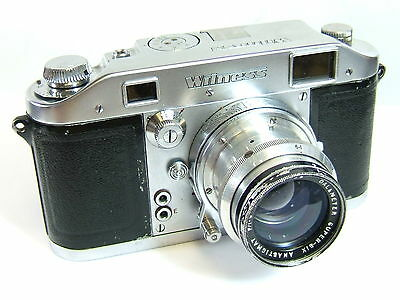 "Ilford Witness 35mm rf camera Dallmeyer 2"" f2 Super Six lens Leica coupled +case"