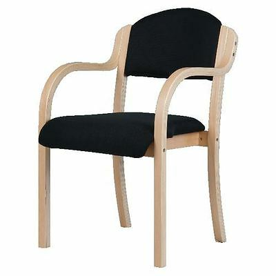 Beech-effect Visitors Chairs with Arms Black