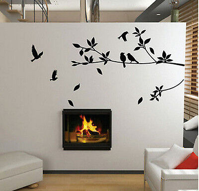 Large Removable Vinyl Art Wall Sticker Tree Branch Birds Mural Decal Home Decor