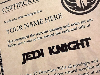Star Wars JEDI KNIGHT Personalised Certificate  With Hologram - Superb Quality