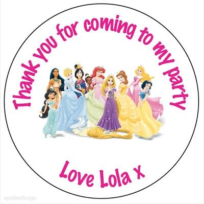 Personalised Princess Round Stickers Birthday Sweet Party Bag Thank You Cone 101