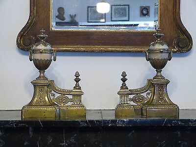 Pair of 19th C. Antique French Bronze & Alabaster Andirons Firedogs Chenets