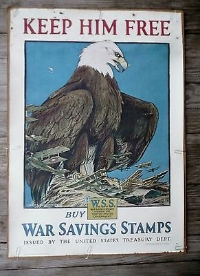Original WWI Print of the Eagle Savings Stamp Poster by Charles Livingston Bull