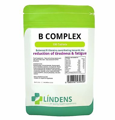 LINDENS VITAMIN B COMPLEX 100s HELPS STRESS ANXIETY DEPRESSION PMS MEMORY
