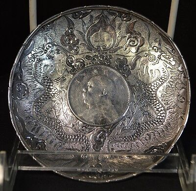 Pair of Chinese Silver Trays with Coins (Republic Period)