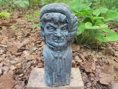 """Vintage 13"""" Cement Victorian Head Bust Flaked Painted Statue Weathered Concrete"""