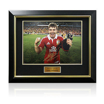 Deluxe Framed Leigh Halfpenny Signed British Lions Rugby Union Photo