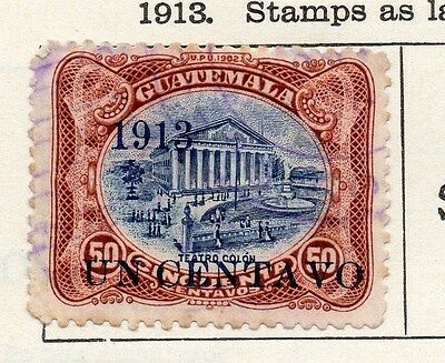 Guatemala 1913 Early Issue Fine Used 1c. Surcharged 087583
