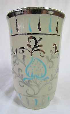 Unusual Vintage Gray's Pottery H/Painted Silver lustre Decor Vase (Stoneware)