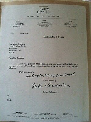 Signed Letter By Brian Mulroney March 7 1994