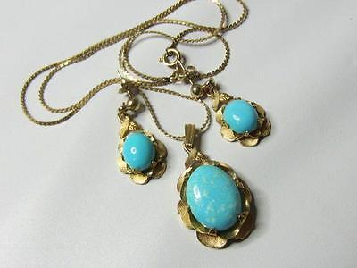 Vintage Gold Filled Turquoise Glass Cabochon Demi Set Earrings Necklace