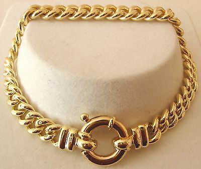 GENUINE 9K 9ct  SOLID Gold CURB Bracelet with BOLT RING CLASP 21 cm