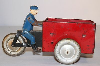 1940's Vebe Made in France Tin Windup Delivery Motorcycle
