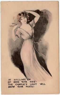 Halloween Postcard Woman Wearing a Nightgown Holding a Candlestick~107706