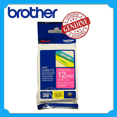 Brother Genuine TZe-MQP35 White on Berry Pink 12mmx5m Laminated Tape for PT-1090