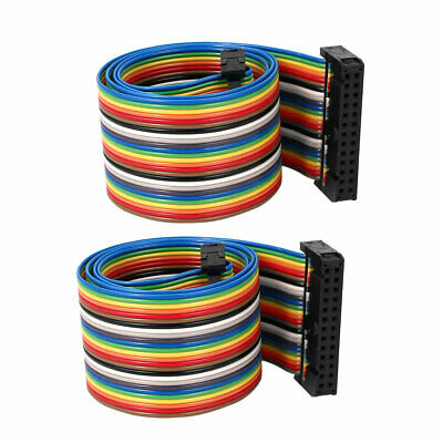 50cm 26 Pin 26 Way F/F Connector IDC Flat Rainbow Color Ribbon Cable 2pcs