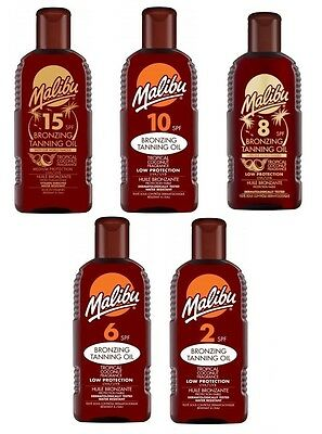 Malibu Sun Bronzing Tanning Oil Sun Protection SPF Tropical Fragrances 200ml
