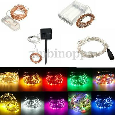 Battery/Solar/12V 10-200 LED MICRO Silver Copper Wire Fairy String Lights Xmas