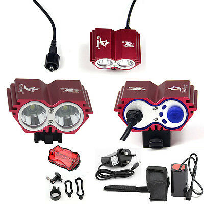 5000LM CREE XML U2 LED MTB Mountain Bike Bicycle Light HeadLamp Rechargeable Red