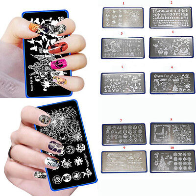 DIY Halloween Plaque Stamping Pochoir Nail Art Decoration Ongle Pour Vernis Neuf