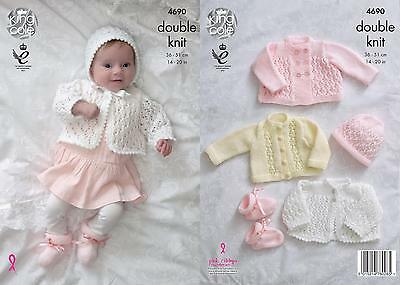 71d01faacb60 KNITTING PATTERN BABY S Lacy Cardigan Coat Bootees   Bonnet DK KIng ...