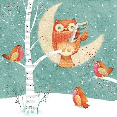 Pack of 8 Owl & Harp Multiple Sclerosis Trust Fairdeal Charity Christmas Cards