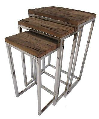 Nest of 3 Side Tables - Reclaimed Wood Railway Sleepers - Stainless Steel Base