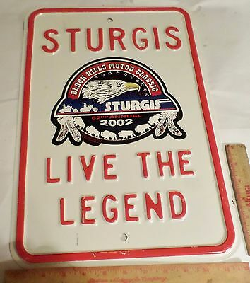 Sturgis 2002 steel street sign collectible motorcycle rally large heavy 12 by 18