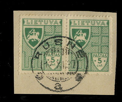 "LITHUANIA - ""RUSNÉ"" CIRCLE DATE STAMP ON PAIR MiNr.409 ON FRAGMENT"