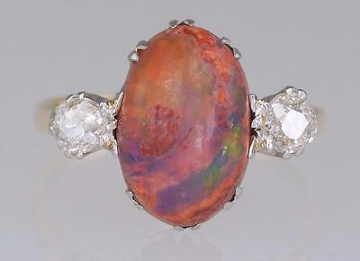 Vintage 18ct Gold & Platinum Matrix Opal & Antique Old Cut Diamond Retro Ring