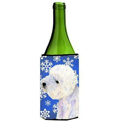 Westie Winter Snowflakes Holiday Wine bottle sleeve Hugger 24 oz.