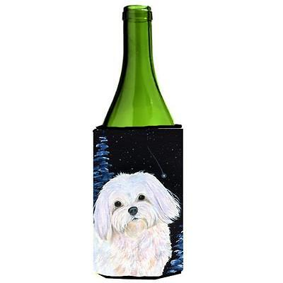 Carolines Treasures Starry Night Maltese Wine bottle sleeve Hugger 24 oz.