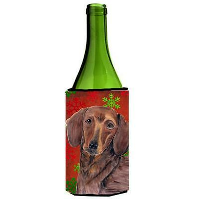 Carolines Treasures Dachshund Snowflakes Holiday Christmas Wine Bottle Hugger