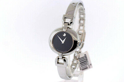 Ladies Movado 0605603 VIVO Stainless Steel Black Dial Bangle Watch