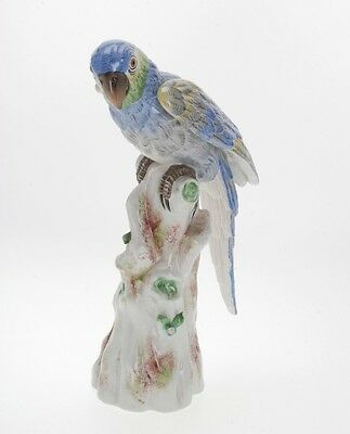 Antique 19Th C. Finely Hand-Painted French Porcelain Parrot Figurine Signed