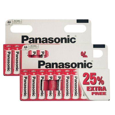 PACK OF 20 x PANASONIC 1.5V AA SIZE ZINC CARBON BATTERIES EXPIRY DATE 05/2019