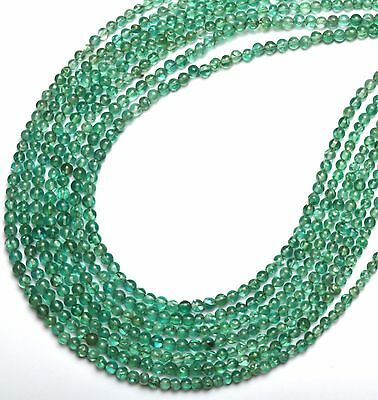 """Natural Gem Ocean Green Apatite 3 to 4MM Smooth Round Beads Necklace 18"""""""