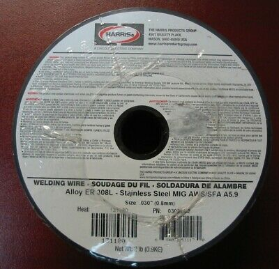 """Harris ER 308L .030"""" (0.8mm) Stainless Steel MIG Wire 2 lb spool 0308LE2"""