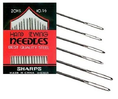 20 Sharps Household Hand Sewing Needles - Assorted Sizes 3 / 9 Embroidery Wool
