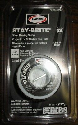 "HARRIS STAY-BRITE SILVER BEARING SOLDER  1/8""  8 ounces"