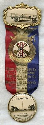 Nice 1914 Stonington, Connecticut Pioneer Hook & Ladder Co. Parade Ribbon