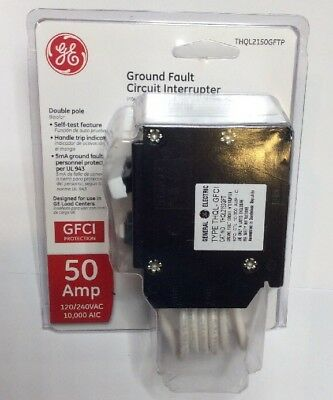 New Circuit Breaker GE THQL2150GFT  GFCI  50 Amp 2 Pole THQL2150GF Self Test