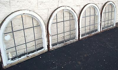 Transom Leaded Glass Windows Half Round Circle Antique Vintage Art Deco