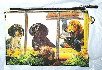 DACHSHUND Zippered Pouch by Maystead / full color both sides / NEW