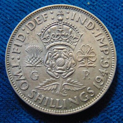 Great Britain ENGLAND British Florin Two 2 SHILLINGS 1943 SILVER COIN EF