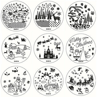 10 Modèle DIY Christmas Ongle Nail Art Stamping Template Image Plaque Decoration